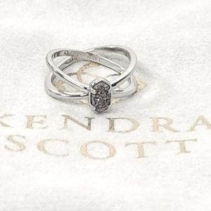 Kendra Scott Emilie Ring Silver Double Band Drusy